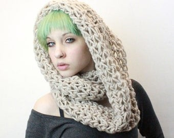 The Favorite Cowl neck hood scarf wool natural Ivory
