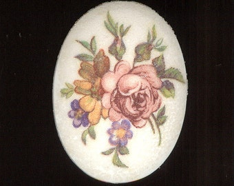 Vintage Glass Sugar Floral Decal Resin Cabochon From West Germany. Drill Hole Make Pendant 40x30mm No.260