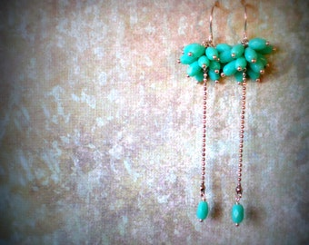 Bridesmaid Earrings - Turquoise Colored Faceted Bead Cluster Earrings With Single Drop - Sexy Earrings - Party Earrings
