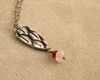 Magnolia Tree Seed Necklace nature Inspired Botanical Silver Garnet Rose Quartz