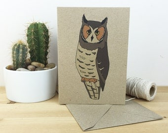 Long-eared owl card - bird card - illustrated owl card - recycled / nature / wildlife card - eco friendly