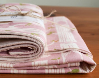 Organic Baby Blanket and Burp Cloth Gift Set in TREE STRIPES PINK, Organic Baby Gift Set by Organic Quilt Company (Last Set)