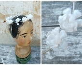 Vintage  1950/50s old French white little roses bridal or holy communion headpiece diademe