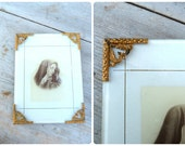Vintage Antique 1900 old French Holy Virgin photo frame with gilted edges removable