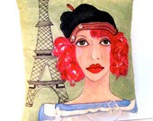 COLETTE, Le FRENCH KISS Series, Hand Painted pillow, Paris, Parisian women, sage green, Eiffel Tower, beret, gift for her, French quote