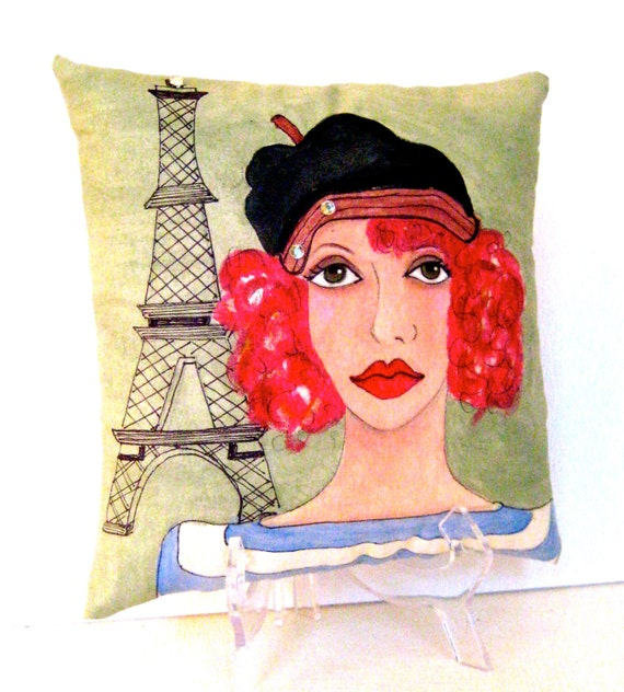 PARIS PAINTED PILLOW, Hand Painted pillow,  Parisian women, sage green pillow, Eiffel Tower,  gift for her, Colette quote, Paris beret,