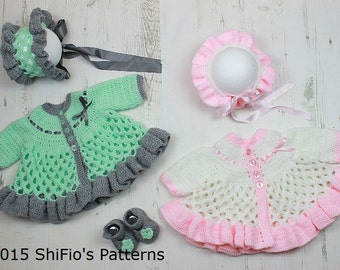 crochet pattern For Baby Matinee Jacket, Hat & Shoes PDF 313 Digital Download, UK, USA, Francais