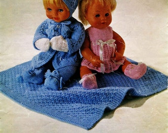 "Vintage Dolls Cloths Pattern, Two Outfits to fit 12"",14""&16"" (31,36,41cm) Knitting Pattern, 1960-1970 (PDF) Pattern, Ladyship 4770"