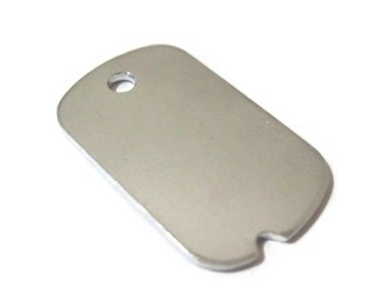 Small Military Dog Tag blank aluminum tag  3/4'' x 1-1/4'' single hole - qty 5 NEW shape