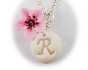 Personalized Cherry Blossom Initial Necklace - Cherry Blossom Jewelry, Sakura Jewelry
