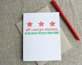 Letterpress Christmas Card - Local Love DC Weekend Track Work
