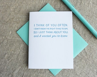 Letterpress Greeting Card - Warm Thoughts - Thinking About You