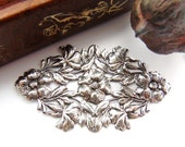 SILVER Art Nouveau Oval Leaf & Flowers Stamping - Jewelry Antique Silver Finding (FC-3) #