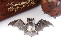 SILVER  Large BAT - Gothic Motif  Silver Ox Brass Stampings - Findings Bat Stamping (FA-6014) #