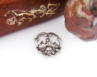 SILVER 2 - Art Nouveau Floral Connector Antique Silver Ox Brass Stamping - Jewelry Findings (FA-6053) #