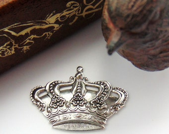 SILVER (2 Pieces) Victorian Royal CROWN Stamping - Jewelry Antique Silver Findings (FA-6085)