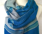 Silver Purple to Green with Silver and Turquoise Handwoven Scarf
