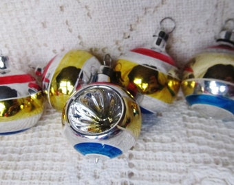 Set Of 5 Small Striped Christmas Ornaments