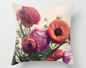 Pillow Cover, Floral Pillow, Ranunculus, Flower Photo Pillow, Spring Decor, Living Room, Bedroom, Shabby 16x16, 18x18, 20x20