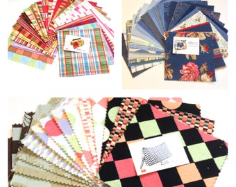 Scrap Fabrics Pack, Charm Pack, DIY projects, Crafting, Patchwork, Quilting, 6 inch squares, 5 oz
