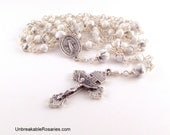 Miraculous Medal Rosary Beads In White Magnesite Wire Wrapped by Unbreakable Rosaries