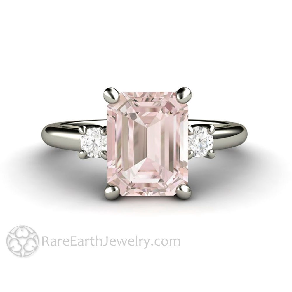 Emerald Morganite Engagement Ring 3 Stone Morganite Ring Three Stone Diamond  14K or 18K Gold Gemstone Ring