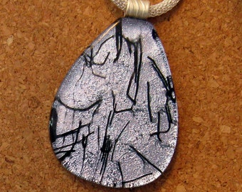 Dichroic Pendant - Silver and Black Pendant - Dichroic Jewelry - Fused Glass Pendant - Fused Glass Jewelry
