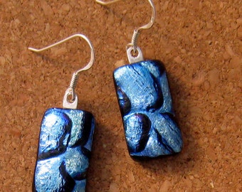 Dichroic Earrings - Fused Glass Earrings - Blue Dichroic Earrings - Dichroic Jewelry - Glass Earrings