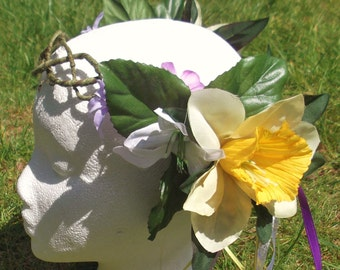 Beltane Midsummer vine circlet - Purple Daisy Yellow Daffodil Silk Flower w/ silver streamer