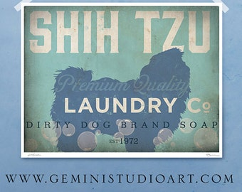 Shih Tzu laundry company laundry room artwork giclee archival signed artists print Pick A Size