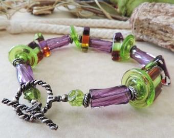 Antiqued Sterling Silver Lampwork Twisted Disk Beaded Bracelet Purple Green Rainforest Jungle color/theme