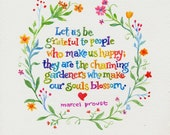 Charming Gardeners Hand Lettered Watercolor Print from original watercolor