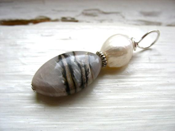 Rhodochrosite Pendant, Rhodochrosite Stone Pearl Pendant, Pendant Necklace, Gemstone Jewelry, Rhodochrosite Jewelry, Pearl Pendant