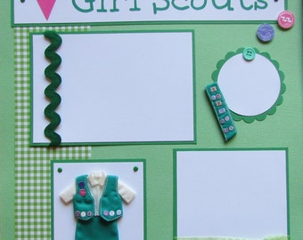 love GIRL SCOUTS 12x12 Premade Scrapbook Pages
