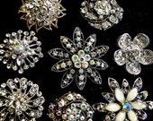 8 Jeweled Magnets.  Fancy Neodymium-WHITE