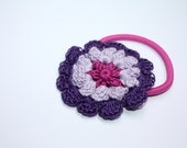 Flower Ponytail Holder, Crochet Hair Tie, Gift for Girls, Birthday Gift, Holiday Gift, Hair Accessories in Fuchsia, Lavender, Purple