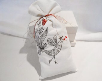 Kissing Bird-  Linen Lavender Sachet -  Metallic Sliver & Red Embroidery