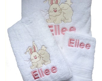 Three Towel Set of Silly Bunnies Custom Embroidered and Personalized for Easter