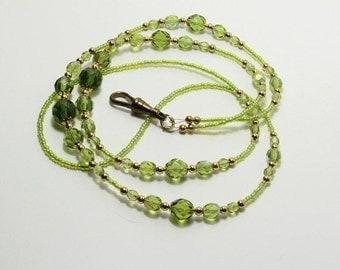 Lanyard Badge Holder Green Glass Beads Beaded ID Chain