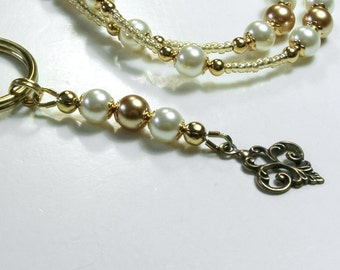 Beaded Lanyard and Zipper Pull Set, Glass Pearl Beads in Cream and Gold, with Matching Charm Zipper Pull