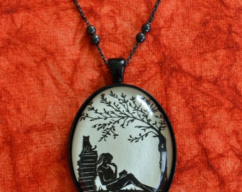Sale 20% Off // Silhouette Necklace, Pendant on Chain - AFTERNOON READING in the PARK - Art Jewelry // Coupon Code SALE20