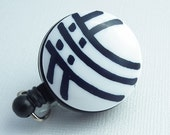Retractable ID Badge Reel - White with Black Curved Stripes on Black Badge Reel - Belt Clip