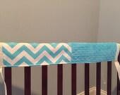 Crib Railing Teething Guard, 3 pcs.- teal chevron