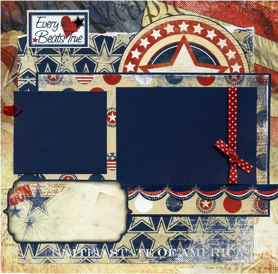 12x12 Premade Scrapbook Page - Every Heart Beats True