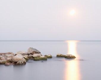 Calming Seascape Photography - Full Moon Art Print - Lake Erie Artwork - Great Lakes Photo - Zen Wall Art - Lilac Purple Bedroom Decor