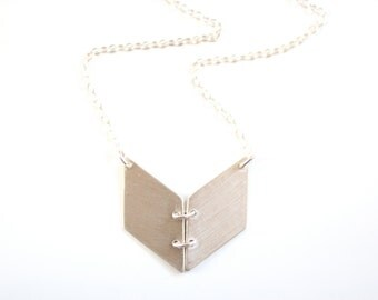 Minimalist Chevron Book Necklace - Brass, Gold Fill or Sterling Silver