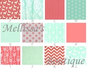 Custom Rustic & MOD Deer Palette Coral and Mint Arrows and Woodgrain Boutique Designer Crib Bedding Set CHOOSE and CUSTOMIZE