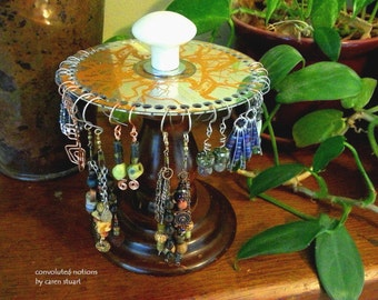 earring holder jewelry organizer repurposed vintage curio look handmade one of a kind