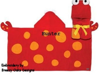 Personalized Hooded Crab Towel, Pool Towel, Baby Gift, Monogram Towel, Beach Towel, Childrens Towel,  Hooded Towel, Character Towel, Gift