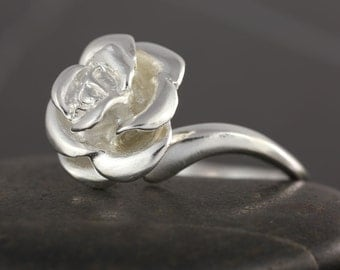Rose ring in Sterling silver - Floral jewelry, flower ring